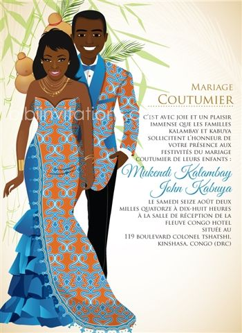 Faire part mariage traditionnel africain