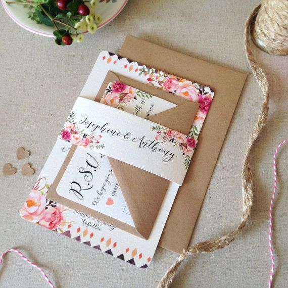 Faire part shabby chic mariage