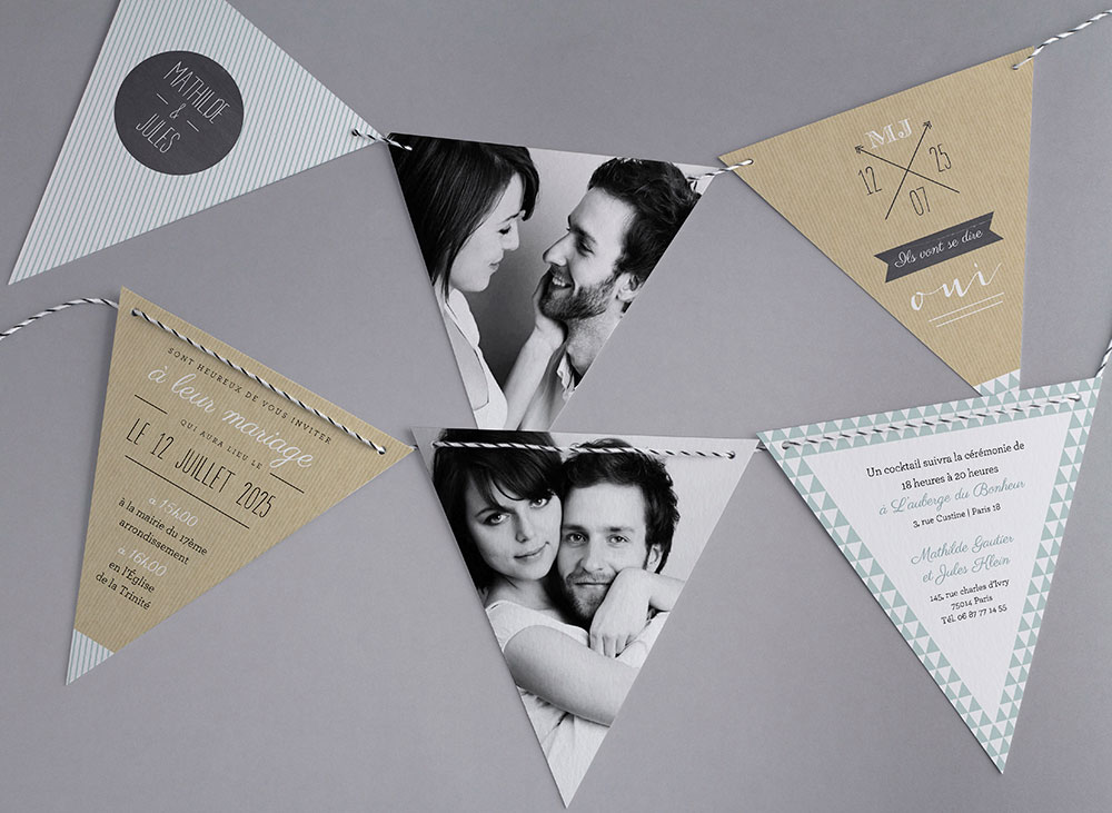 Faire part triangle mariage
