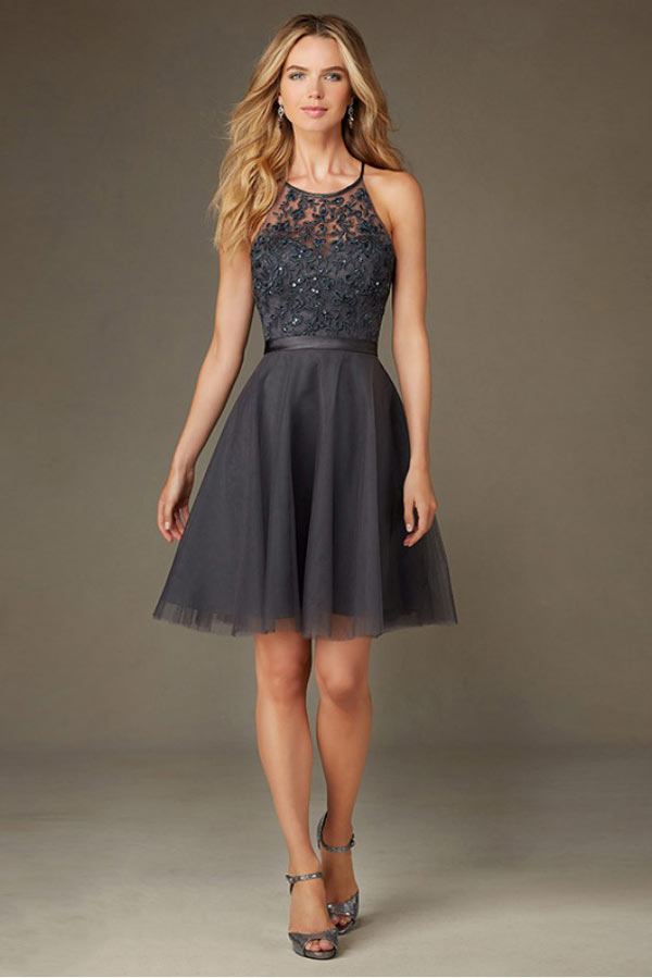 Robe cocktail mariage gris perle